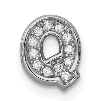 Sterling Silver Rhodium-plated CZ Letter Q Initial Slide Charm