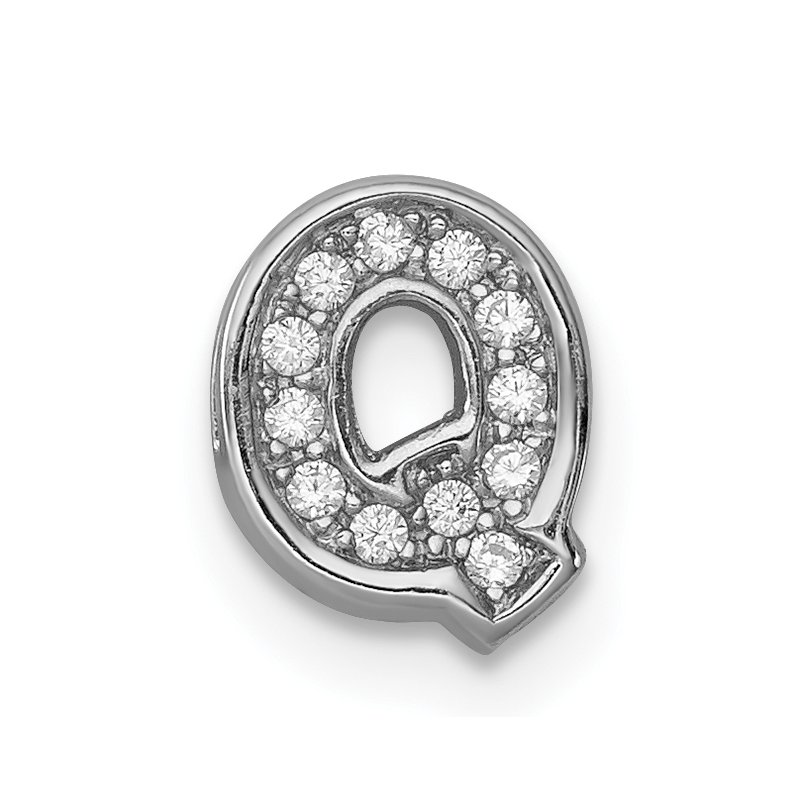 Quality Gold Sterling Silver Rhodium-plated CZ Letter Q Initial Slide Charm