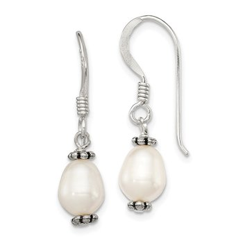 Sterling Silver White FWC Pearl Antiqued Bead Dangle Earrings