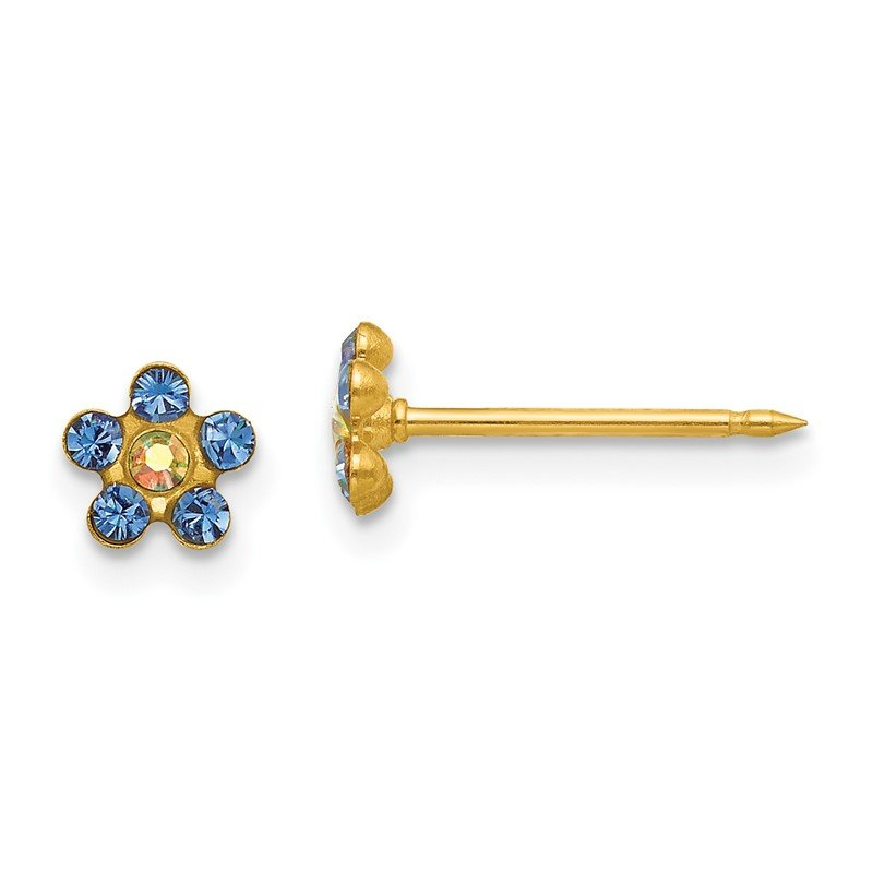 Quality Gold Inverness 14k Blue/Aurora Borealis Crystal Flower Earrings
