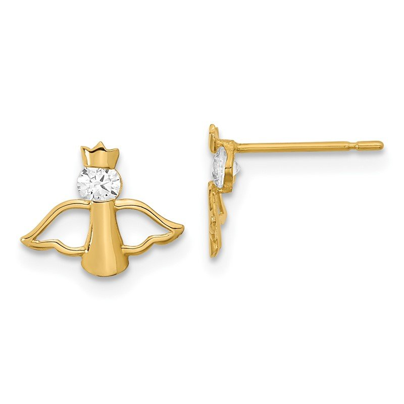 Quality Gold 14k Madi K CZ Children's Angel Post Earrings