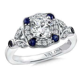 Diamond & Blue Sapphire Engagement Ring Mounting in 14K White Gold (.20 ct. tw.)