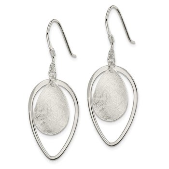 Sterling Silver Polished & Textured Teardrop Shepherd Hook Earring