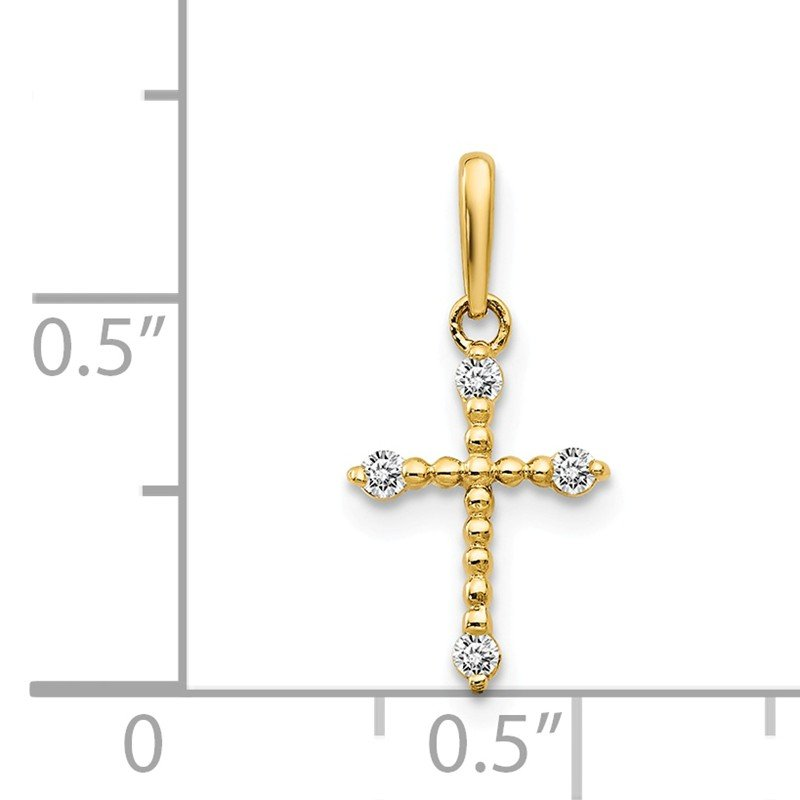 Quality Gold 14k CZ Children's Cross Pendant