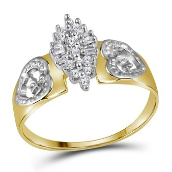 Yellow-tone Sterling Silver Womens Round Diamond Heart Mom Cluster Ring 1/8 Cttw