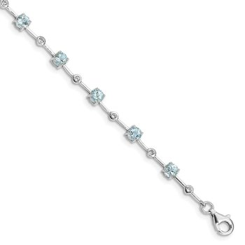 Sterling Silver Rhodium-plated Aquamarine White Topaz Bracelet