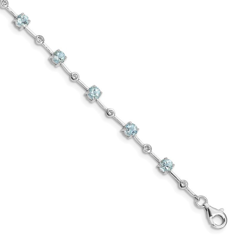 Quality Gold Sterling Silver Rhodium-plated Aquamarine White Topaz Bracelet