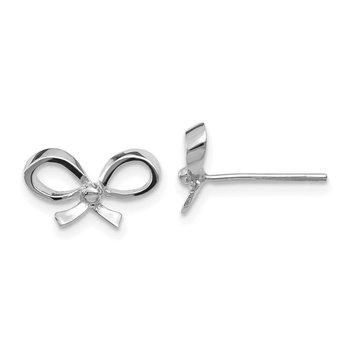 14k White Gold Bow Post Earrings
