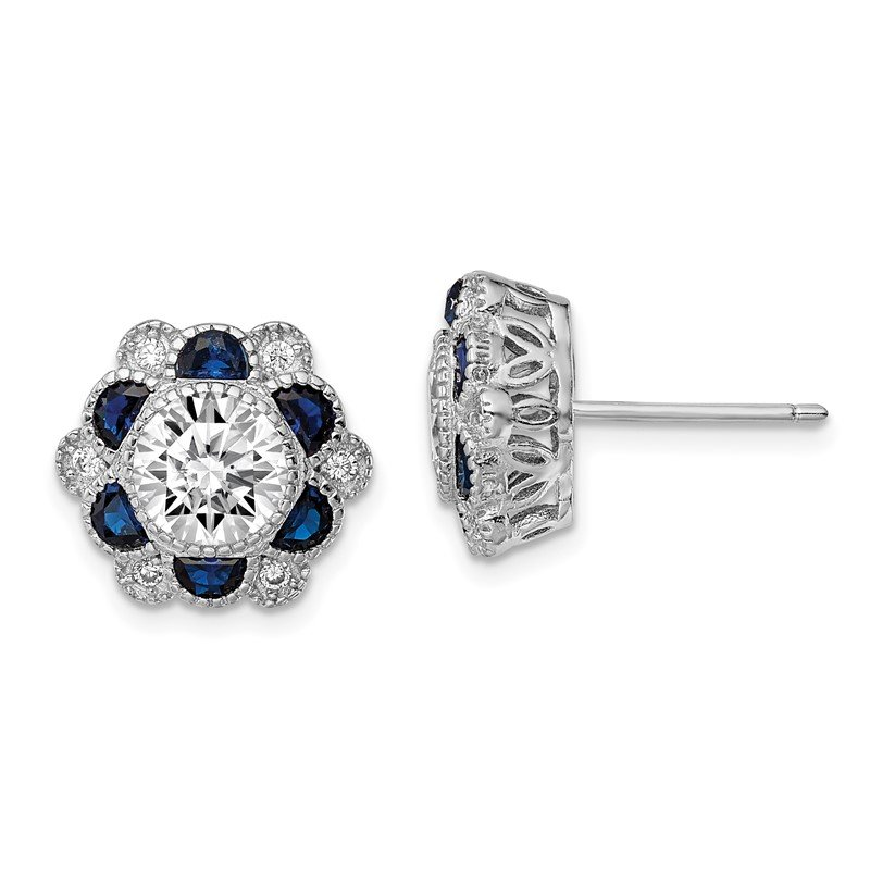 Quality Gold Sterling Silver Rhodium-plated Blue Spinel/CZ Flower Post Earrings