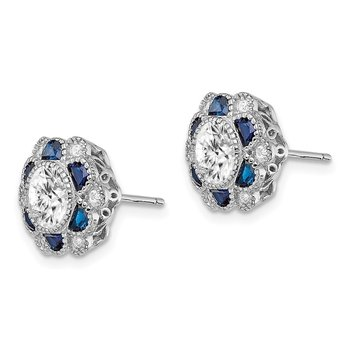 Sterling Silver Rhodium-plated Blue Spinel/CZ Flower Post Earrings
