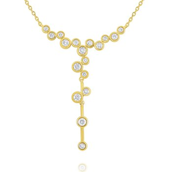 14k Gold and Diamond Bubbles Necklace