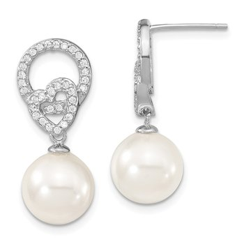 Sterling S Majestik Rh-pl 10-11mm Wht Imitat Shell Pearl & CZ Dangle Earrin