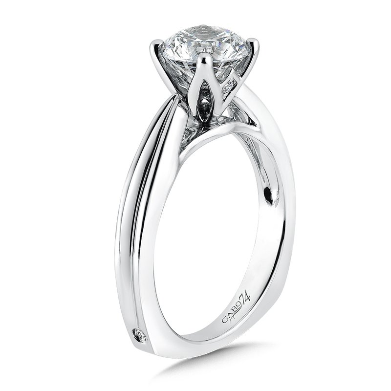 Solitaire Engagement Ring in 14K White Gold with Platinum Head