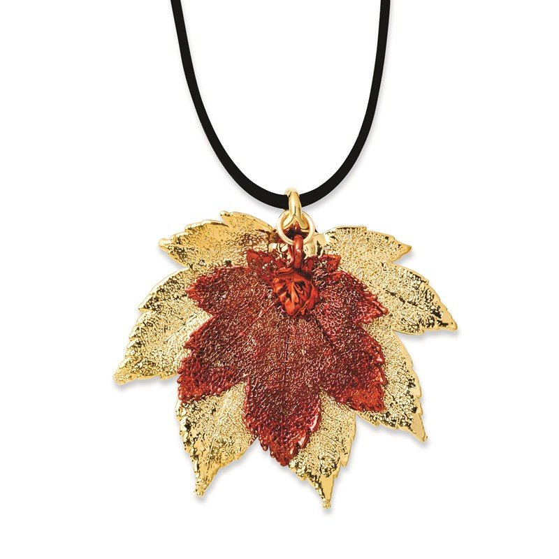 Quality Gold 24k Gold/Iridescent Copper Dipped Double Full Moon Maple Leaf 20in Necklace