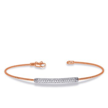 White & Rose Gold Bangle Italian Made
