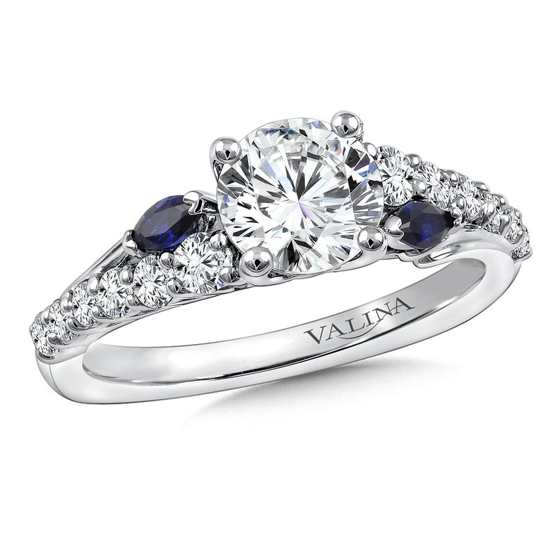 Valina Bridals Diamond & Blue Sapphire Engagement Ring Mounting in 14K White Gold (.53 ct. tw.)