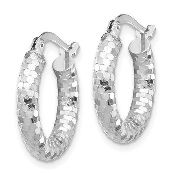 14k White Gold 3x10mm Diamond-cut Hoop Earrings