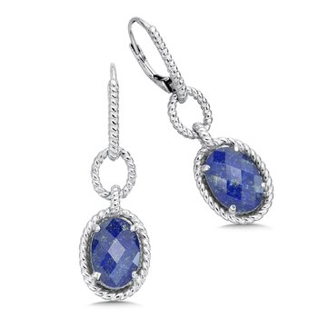 Sterling silver, and lapis fusion earrings