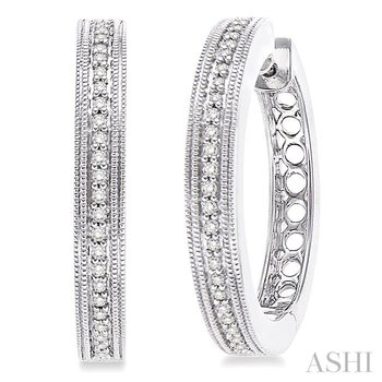silver hoop diamond earrings