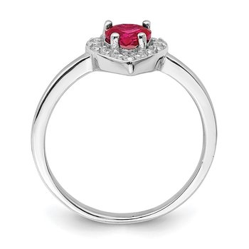 Sterling Silver Rhodium-plated Created Corundum & CZ Heart Ring