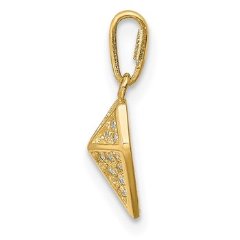 14K Geometric Diamond-shaped CZ Pendant
