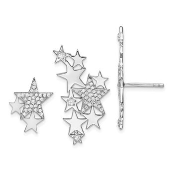 Sterling Silver Rhodium-plated CZ Star Left & Right Earrings