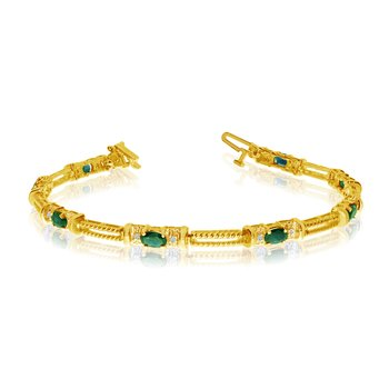 10k Yellow Gold Natural Emerald And Diamond Tennis Bracelet