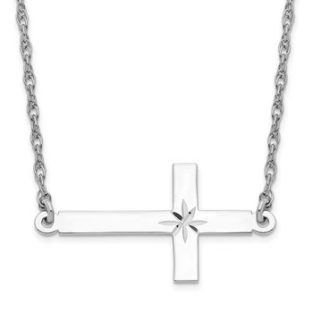 Sterling Silver Rhodium-plated Large D/C Sideways Cross Necklace