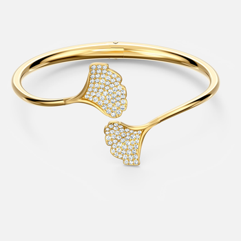 Stunning Ginko Bangle, White, Gold-tone plated