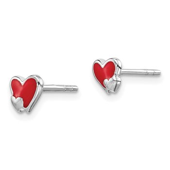Sterling Silver Rhodium-plated Childs Enameled Red Heart Post Earrings