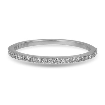 14K WG Diamond almost eternity Band in Prong Setting. 1/4 Cts