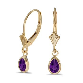14k Yellow Gold Pear Amethyst Bezel Lever-back Earrings