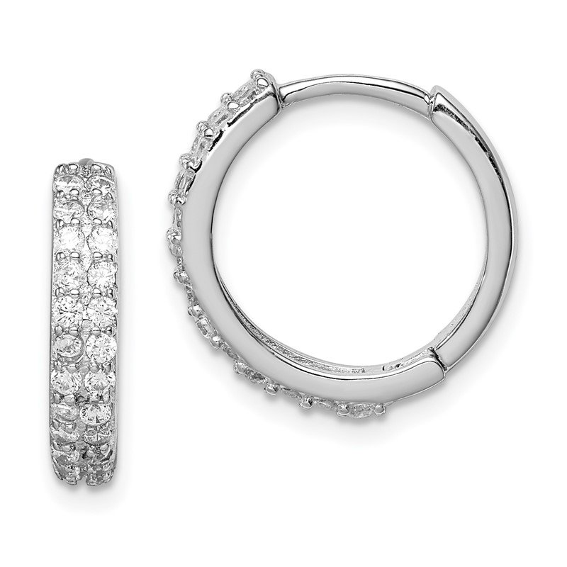 Quality Gold Sterling Silver Polished Rhodium-plated Hinged Hoop Earrings