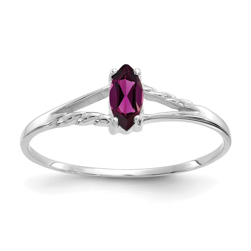 Quality Gold 10k White Gold Polished Geniune Rhodolite Garnet Birthstone Ring
