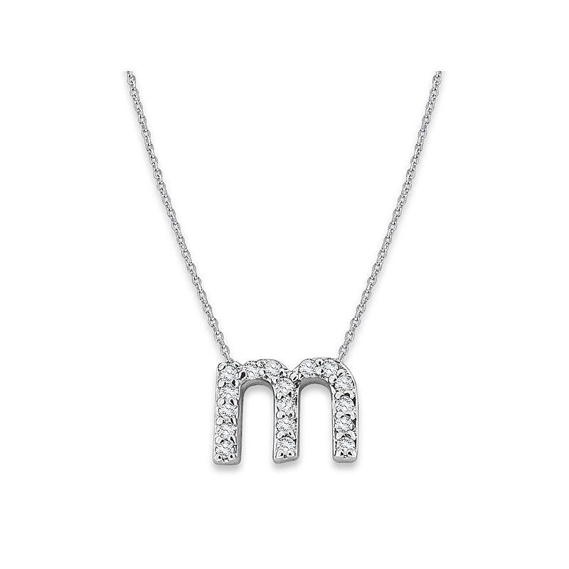 "KC Designs Diamond Baby Typewriter Initial ""M"" Necklace in 14k White Gold with 17 Diamonds weighing .09ct tw."