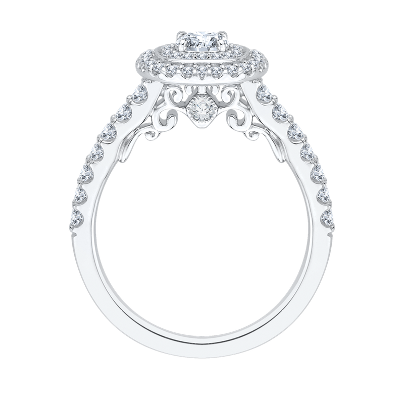 Promezza Double Halo Round Cut Diamond Engagement Ring In 14K White Gold