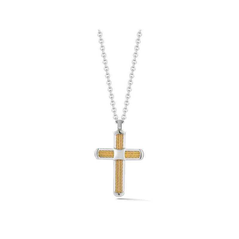 ALOR Yellow Cable Cross Necklace on Grey Chain with 18kt Yellow Gold