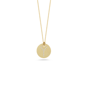 18KT GOLD DISC PENDANT WITH DIAMOND INITIAL Y