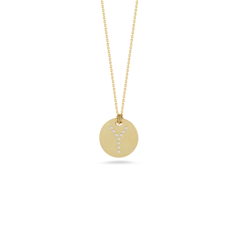 Roberto Coin 18Kt Gold Disc Pendant With Diamond Initial Y