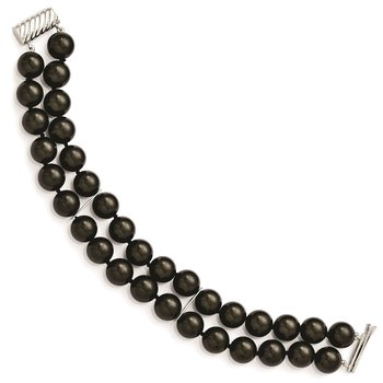 Sterling S Majestik Rh-pl 2 Row 10-11mm Blk Imitat Shell Pearl Bracelet