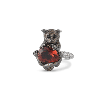Cat Ring With Diamonds,Tourmaline And Sapphires &Ndash; 6.5