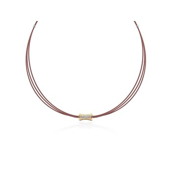 Burgundy Cable Eclipse Necklace with 18kt Yellow Gold & Diamonds