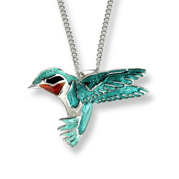 Green Hummingbird Necklace.Sterling Silver