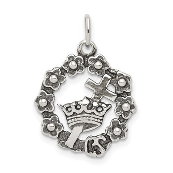 Sterling Silver Cross, Crown & Wreath Charm