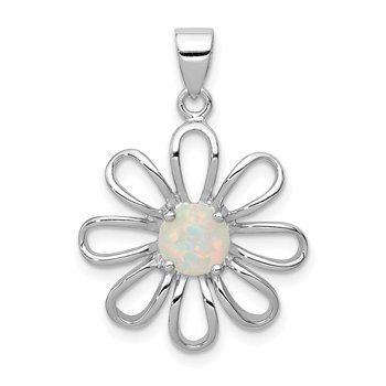 Sterling Silver rhodium Plated Created Opal Daisy Slide