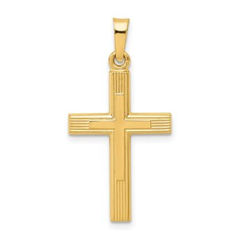 14k Brushed and Polished Latin Cross Pendant