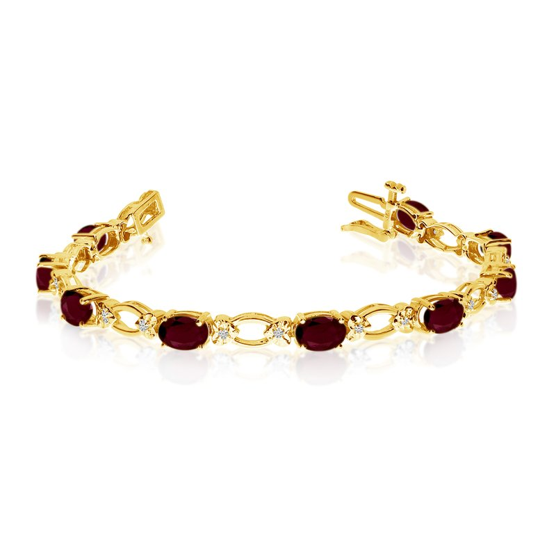 Color Merchants 14k Yellow Gold Natural Garnet And Diamond Tennis Bracelet