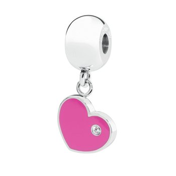 316L stainless steel fuchsia enamel and Swarovski® Elements white crystal.