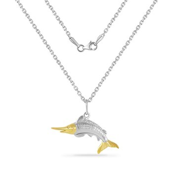 14K YELLOW  & STERLING SILVER MARLIN PENDANT ON 18 INCHES SILVER CHAIN