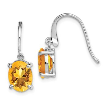 Sterling Silver Rhodium Citrine Wire Earrings